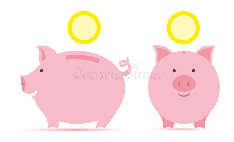 Sparschwein mit Münzen stock abbildung