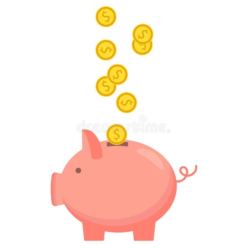 Sparschwein mit Münzenikone, lokalisierte flache Art Konzept des Geldes lizenzfreie abbildung