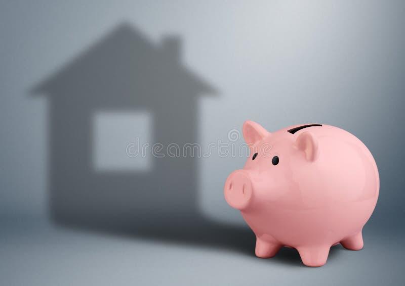 Sparschwein mit Schatten als Haus, Wohnungswirtschaftsfinanzkonzept stockfotografie