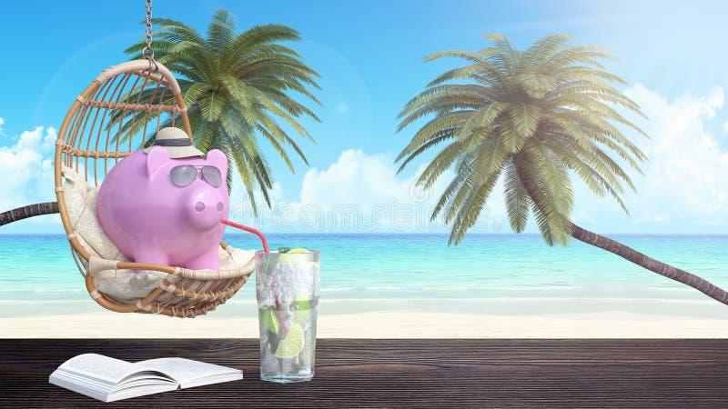 Sparschwein mit Sonnenbrille-Getränk-Cocktail auf dem Strandurlaub 3d übertragen vektor abbildung