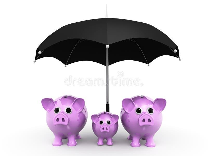 Sparschwein mit umber La, Versicherungsschutz zu Ihren Investitionen, Sparschwein mit umber La, Investitionssicherheit, Geldsafe, lizenzfreie abbildung