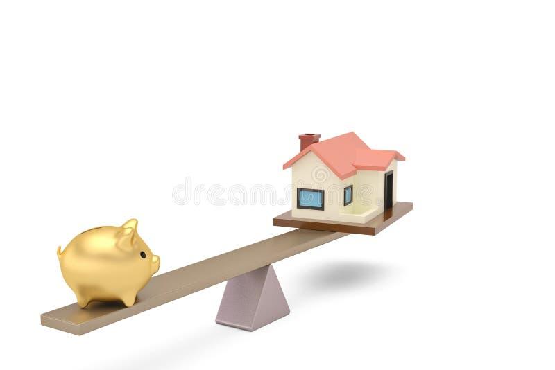 Sparschwein und Haus auf dem ständigen Schwanken Abbildung 3D lizenzfreie abbildung