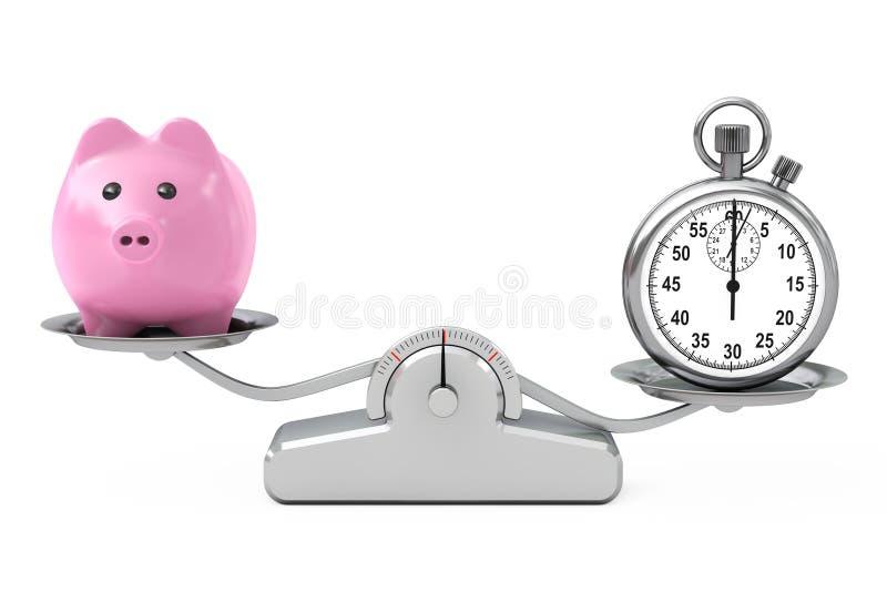 Sparschwein und Stoppuhr, die auf einer einfachen Gewichtungs-Skala balancieren stock abbildung