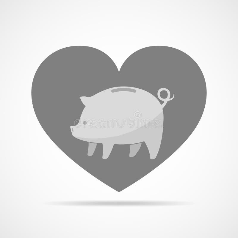 Sparschwein vor dem hintergrund eines Herzens Auch im corel abgehobenen Betrag vektor abbildung
