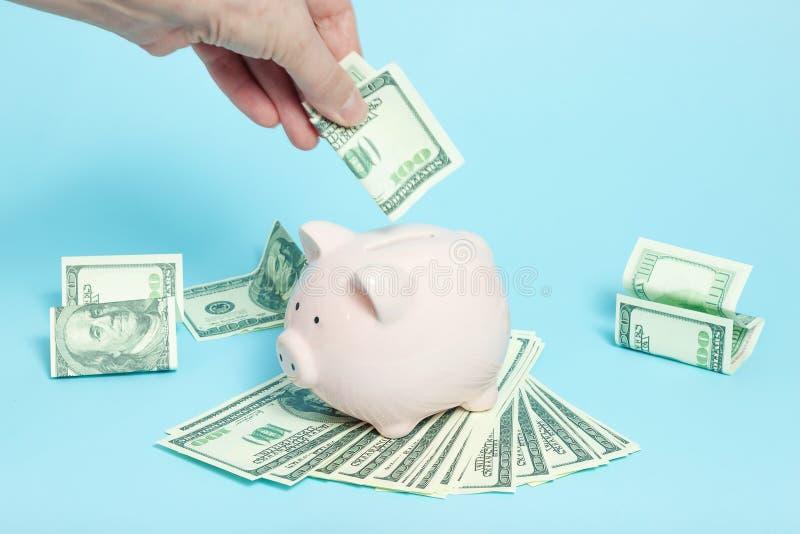 Sparschweingeld auf blauem Hintergrund lizenzfreie stockfotos