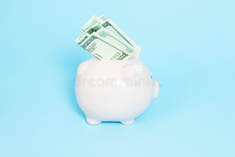 Sparschweingeld auf blauem Hintergrund lizenzfreie stockfotografie