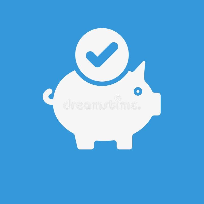 Sparschweinikone, Geschäftsikone mit Kontrollzeichen Sparschweinikone und genehmigt, bestätigen, getan, Zecke, abgeschlossenes Sy stock abbildung