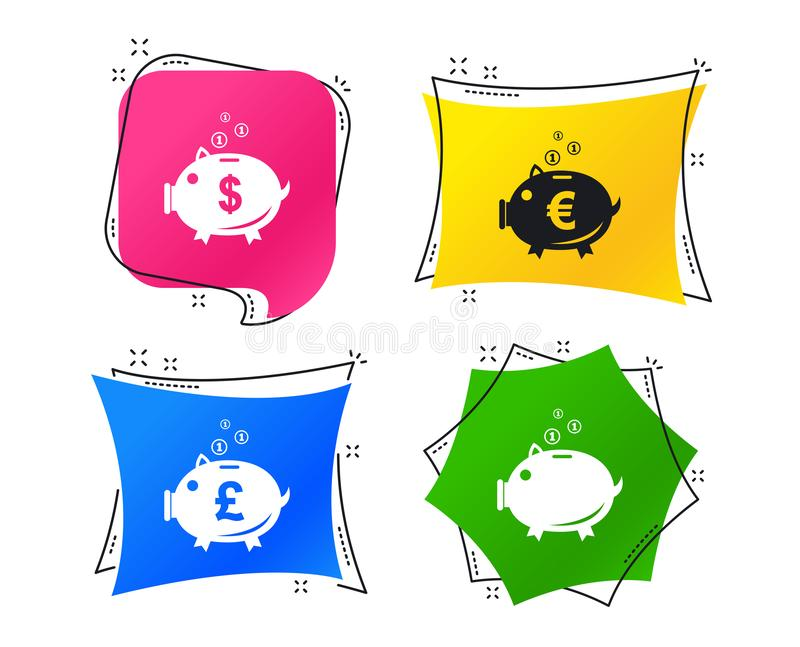 Sparschweinikonen Dollar, Euro, Pfund moneybox Vektor vektor abbildung