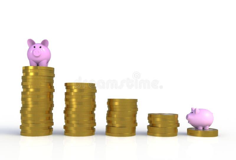 Sparschweinstellung auf Stapel Münzen lokalisiert lizenzfreies stockfoto