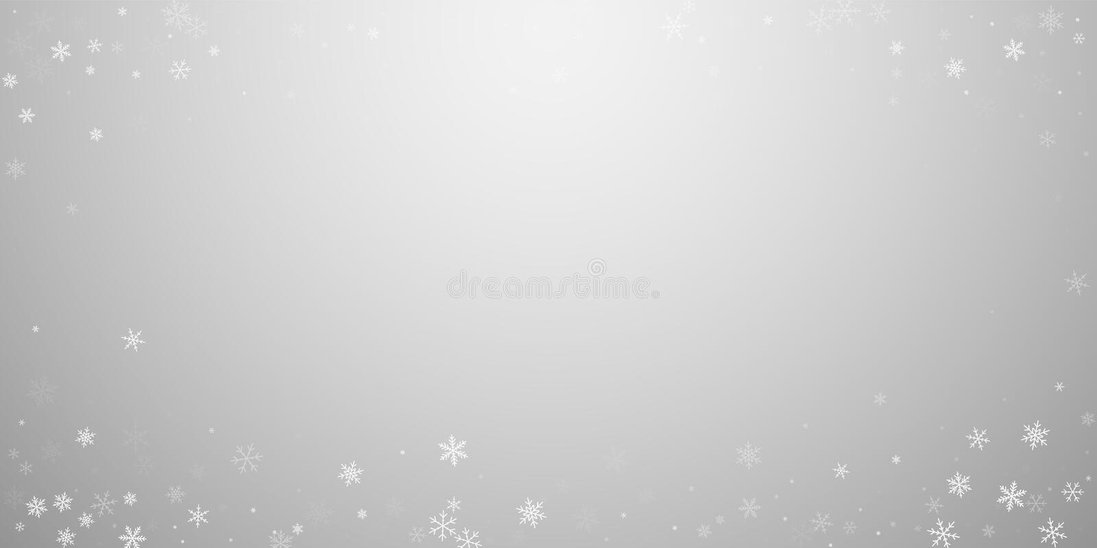 Sparse snowfall Christmas background. Subtle flying snow flakes and stars on light grey background. Bewitching winter silver snowflake overlay template. Extra vector illustration