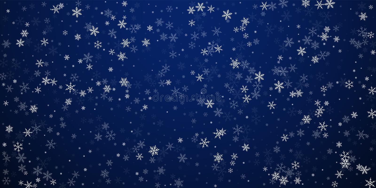 Sparse snowfall Christmas background. Subtle flyin. G snow flakes and stars on dark blue night background. Beautiful winter silver snowflake overlay template stock illustration