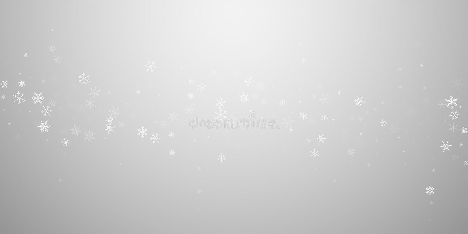 Sparse snowfall Christmas background. Subtle flyin. G snow flakes and stars on light grey background. Attractive winter silver snowflake overlay template royalty free illustration