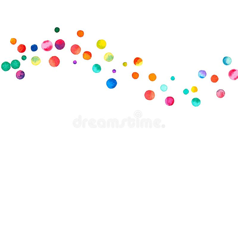 Sparse watercolor confetti on white background. royalty free illustration