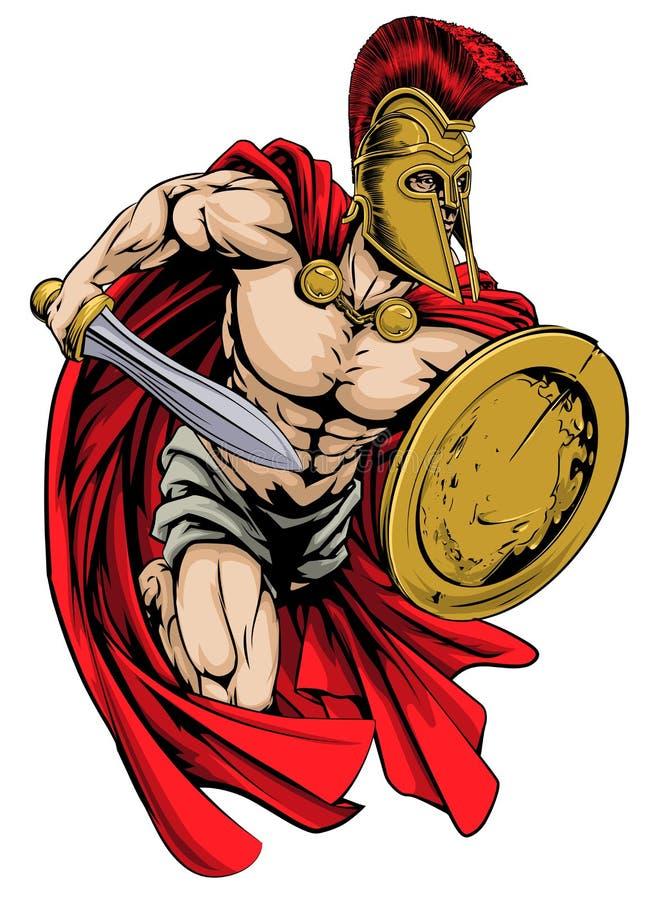 Spartańska maskotka ilustracja wektor