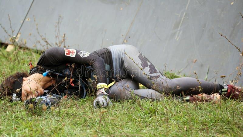Spartańska przeszkoda bieg rasa Przeszkoda, kobieta zdjęcie royalty free