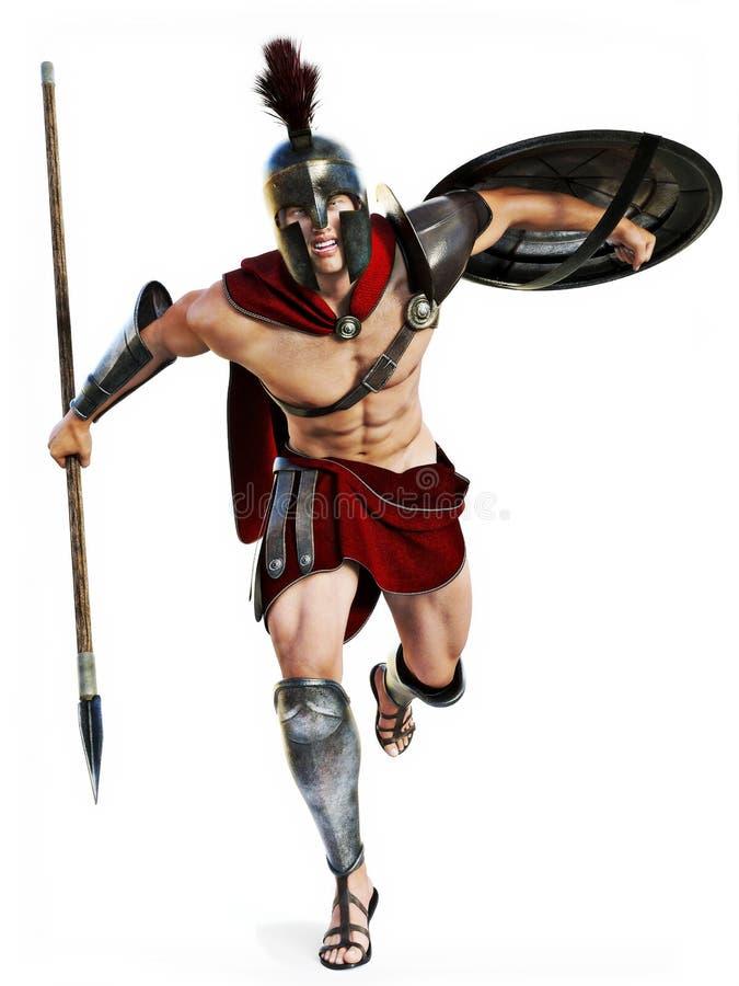 Spartański ładunek, Pełna długości ilustracja Spartański wojownik w Batalistycznej sukni napadaniu na białym tle royalty ilustracja