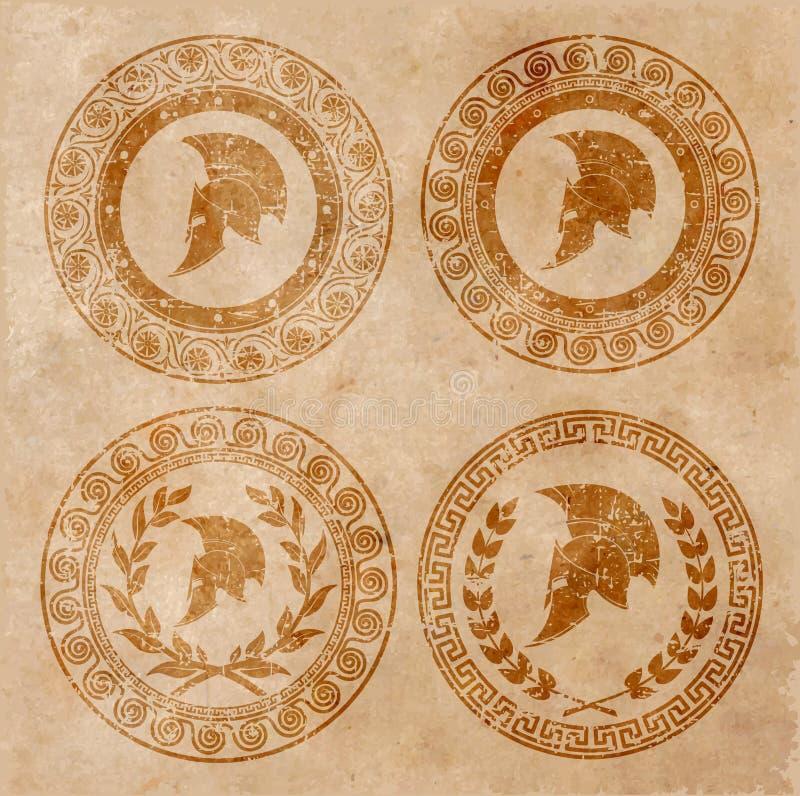 Spartański hełm ikona na starym papierze w stylowym grunge royalty ilustracja