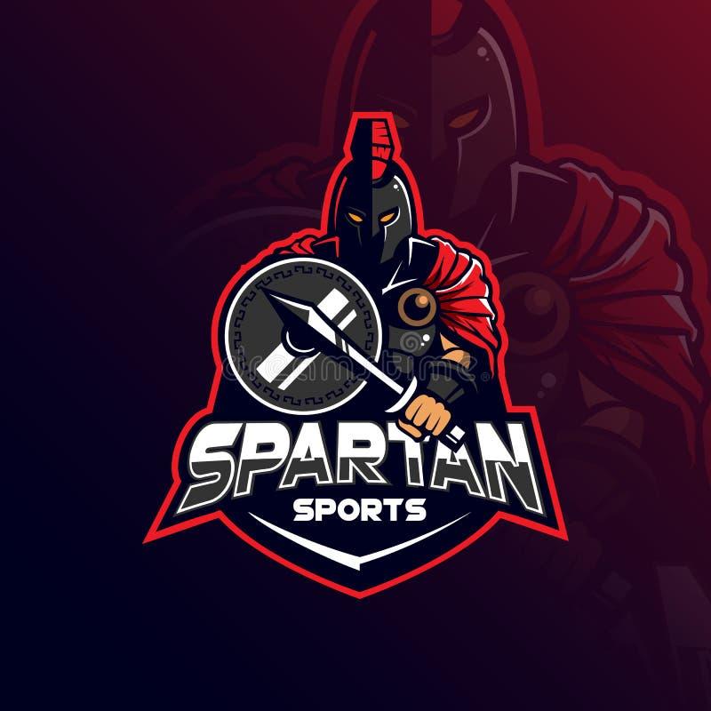 Spartański maskotka logo projekta wektor z nowożytnym ilustracyjnym pojęcie stylem dla odznaki, emblemata i tshirt druku, _ royalty ilustracja