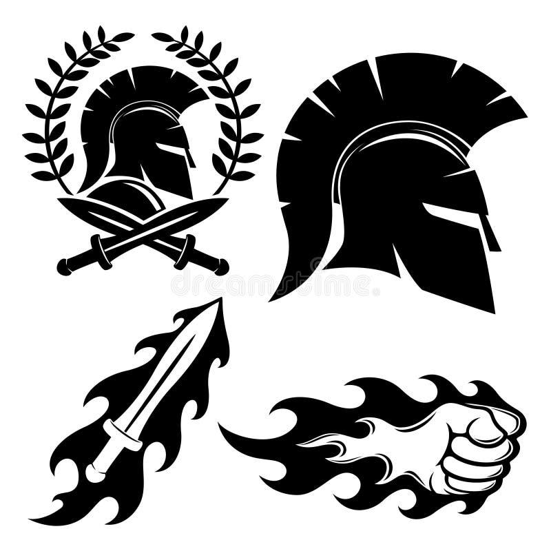 Spartaans helmteken royalty-vrije illustratie