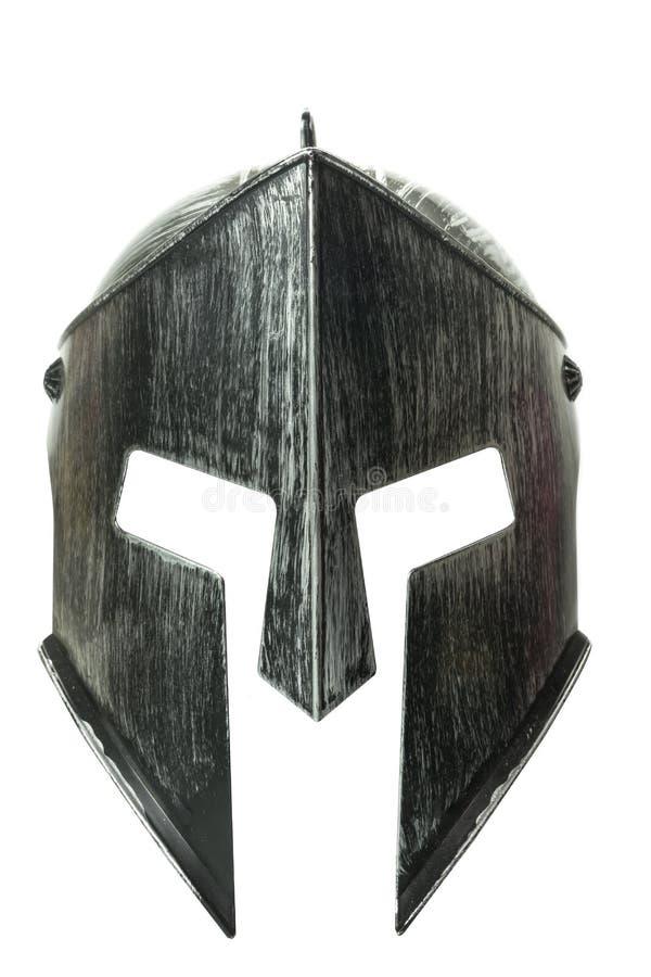 Spartaanse die helm op witte achtergrond 2 wordt geïsoleerd stock foto