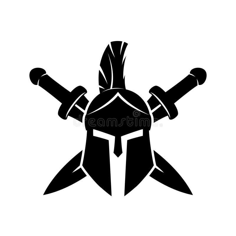 Spartaanse helm en gekruiste zwaarden royalty-vrije illustratie
