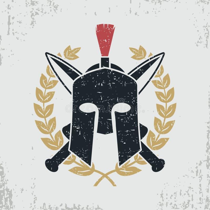 Spartaanse helm, gekruiste zwaarden, lauwerkrans - grafisch ontwerp voor kleren, t-shirt, kleding, embleem Vector vector illustratie