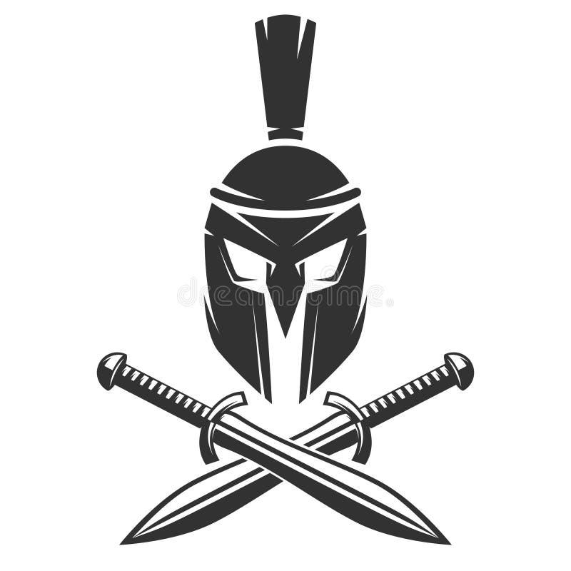 Spartaanse helm met gekruiste zwaarden royalty-vrije illustratie