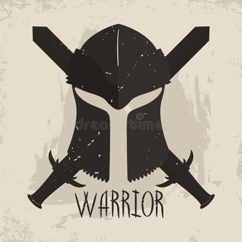 Spartaanse helm met gekruiste zwaarden en van letters voorziende Strijder Griekse strijderstypografie voor t-shirtgrafiek royalty-vrije illustratie