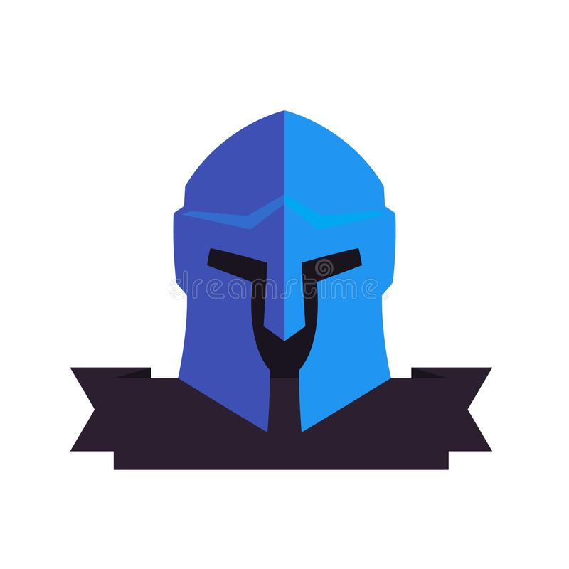 Spartaanse helm, vectorembleemelementen op wit royalty-vrije illustratie