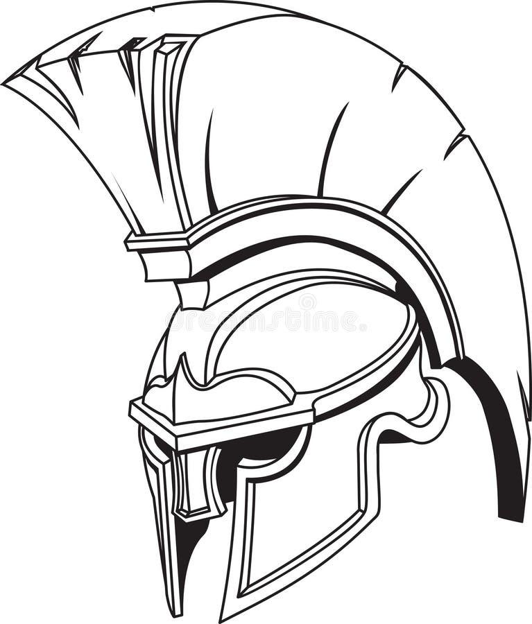 Spartaanse roman Griekse trojan gladiatorhelm stock illustratie