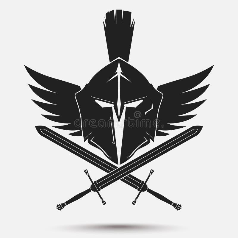Spartaanse strijdershelm royalty-vrije illustratie