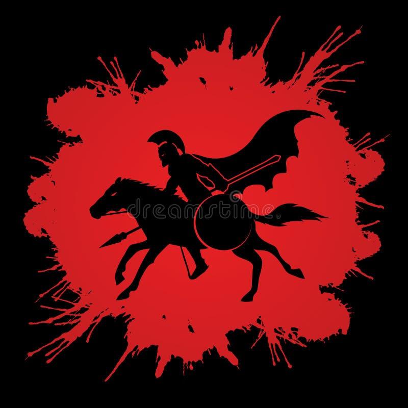 Spartaanse strijdersruiters met spear royalty-vrije illustratie