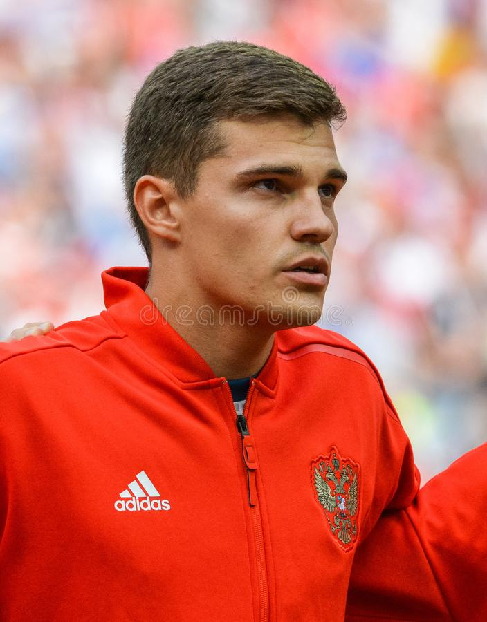 Spartak Moscow and Russia national football team midfielder Roman Zobnin. Moscow, Russia - July 1, 2018. Russia national football team midfielder Roman Zobnin royalty free stock photo
