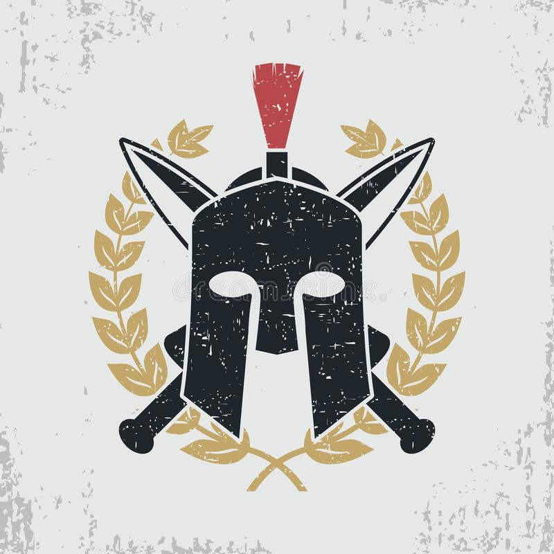 Spartan helmet, crossed swords, laurel wreath - graphic design for clothes, t-shirt, apparel, logo. Vector. vector illustration
