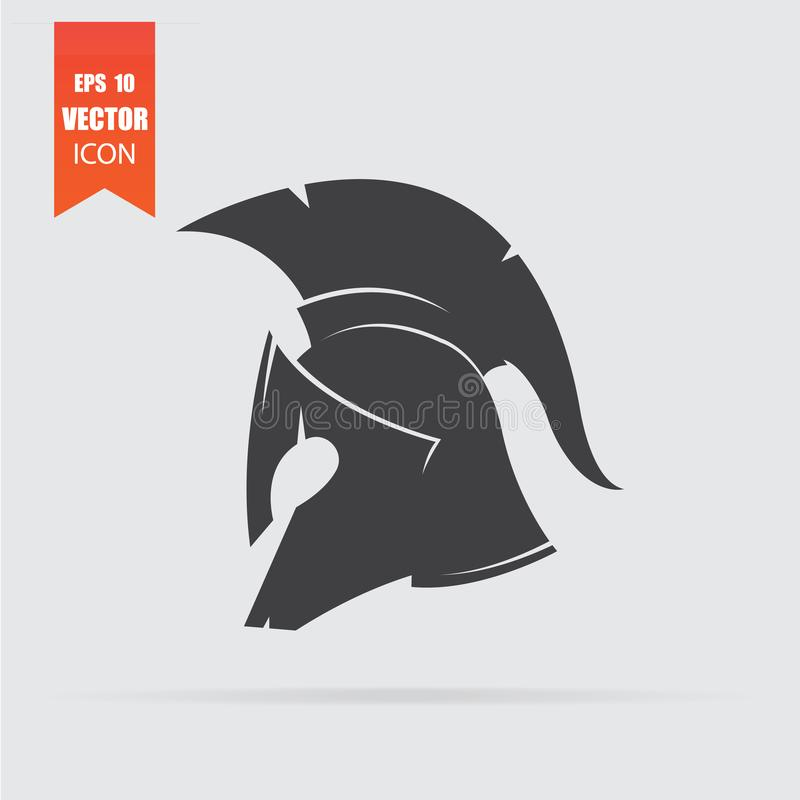 Spartan helmet icon in flat style isolated on grey background vector illustration