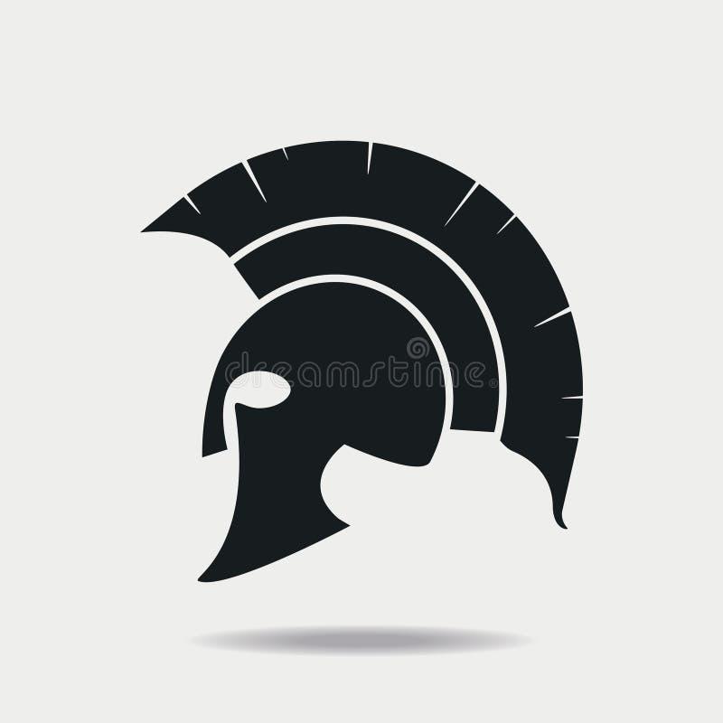 Spartan Helmet icon. Greek or Roman head armor for Gladiator, legionnaire. Vector. royalty free illustration