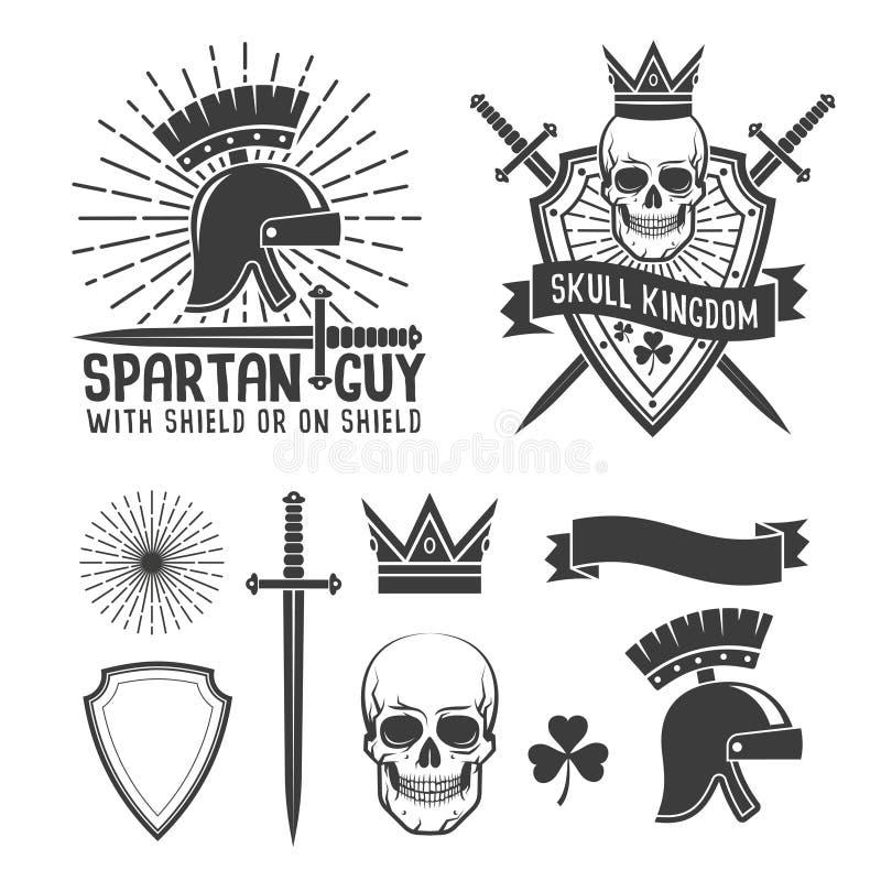 Spartan helmet skull crown royalty free illustration