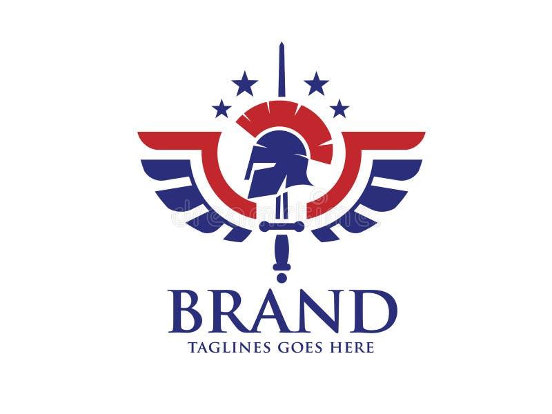 Spartan helmet, wings, stars and sword logo. Creative spartan helmet, wings, stars and sword logo vector design vector illustration