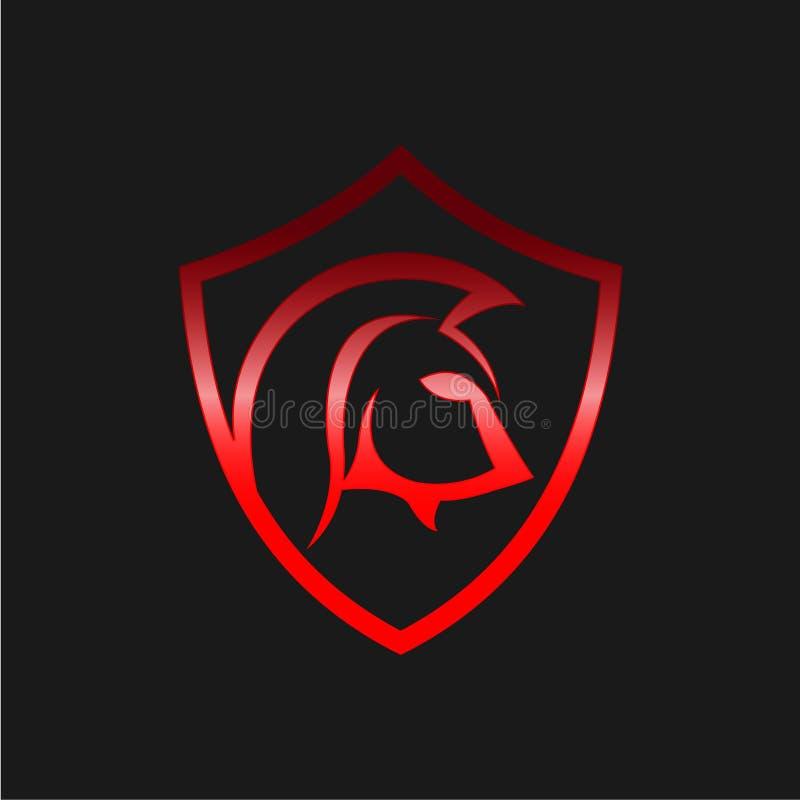 Spartan Logo Spartansk krigarevektordesign, EPS 8, EPS 10 stock illustrationer