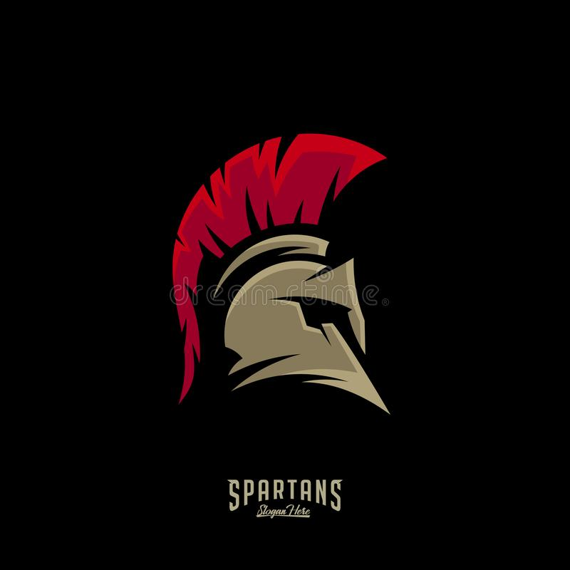 Spartan Logo Vector, Sparta Logo Vector, Spartan Helmet Logo Template, Ikonen-Symbol lizenzfreie abbildung