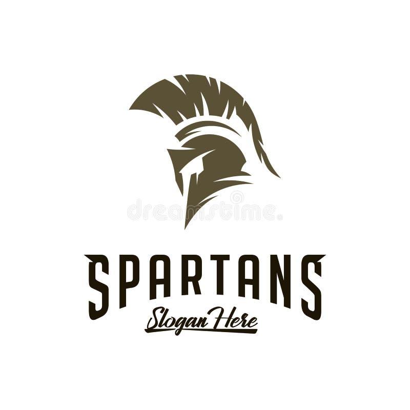 Spartan Logo Vector, Sparta Logo Vector, Spartan Helmet Logo Template, simbolo dell'icona illustrazione vettoriale
