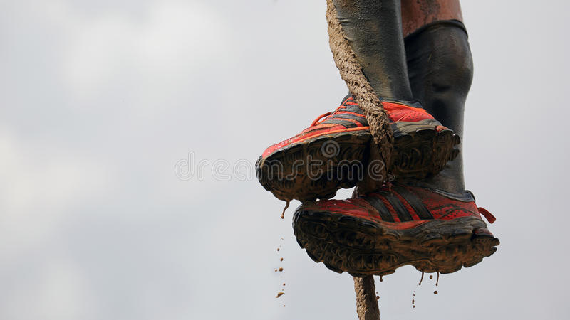 Spartan obstacle running race stock images