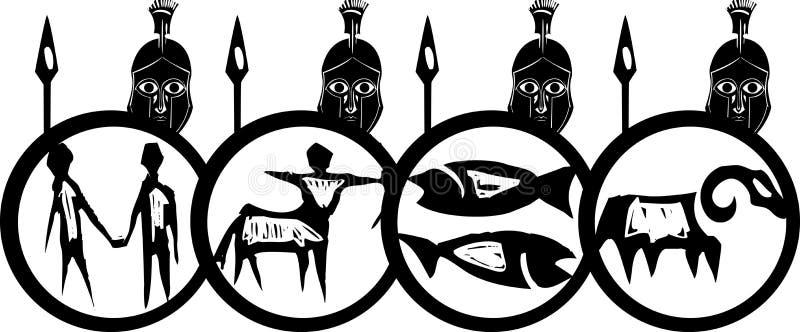 Spartan Phalanx illustration libre de droits