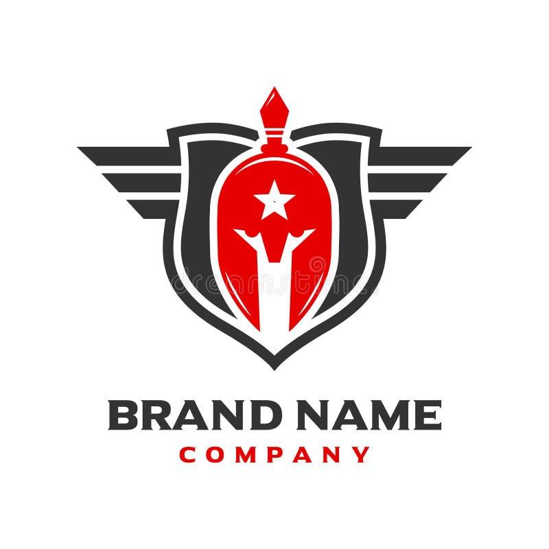 Spartan Shield Logo Design ilustração do vetor