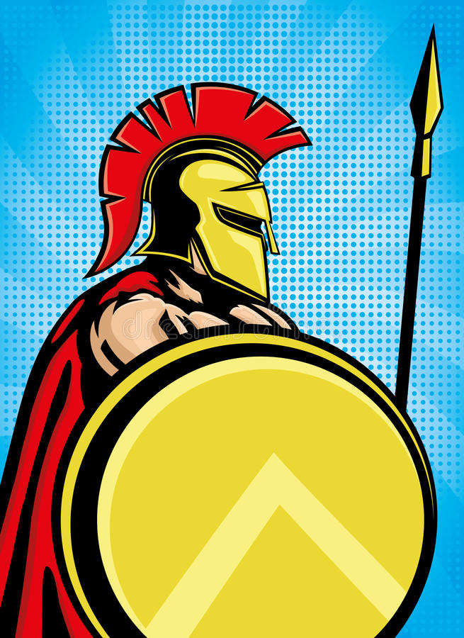 Spartan with shield and spear. royalty free illustration