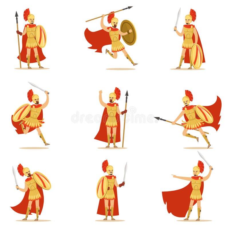 Spartan Soldier In Golden Armor och röd uddeuppsättning av vektorillustrationer med den grekiska militära hjälten i kampen royaltyfri illustrationer