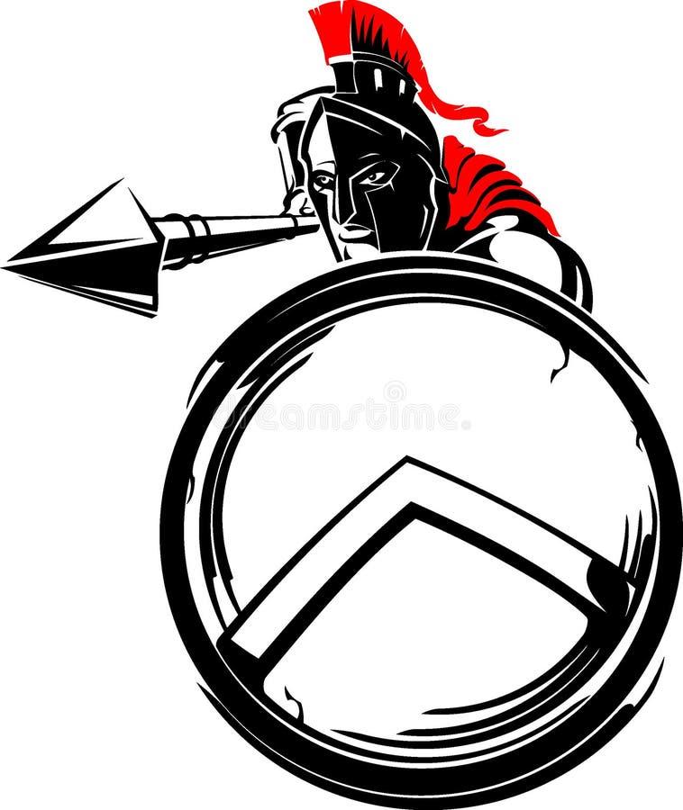 Spartan Soldier Shielded Attack royalty-vrije illustratie
