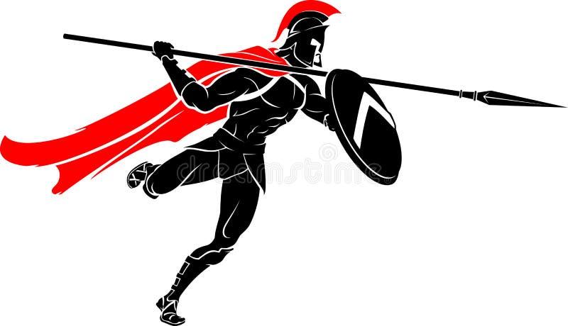 Spartan Spear Warrior Attack libre illustration