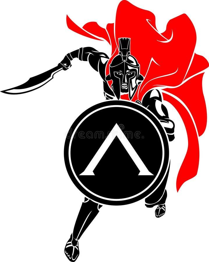 Spartan Sword Front Attack vector illustratie