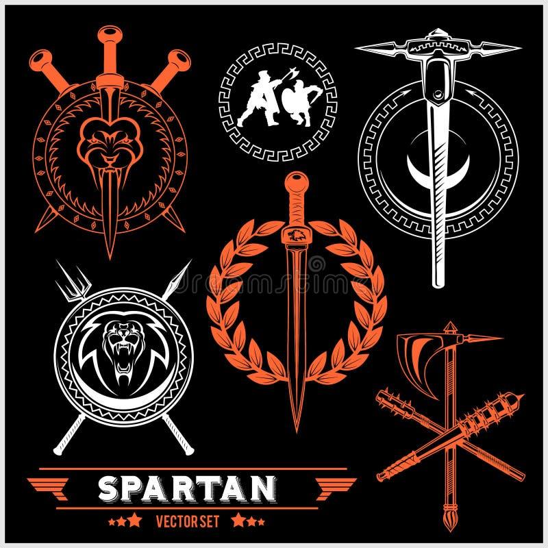 Spartan Team Logo and emblems - vector set. On dark background vector illustration